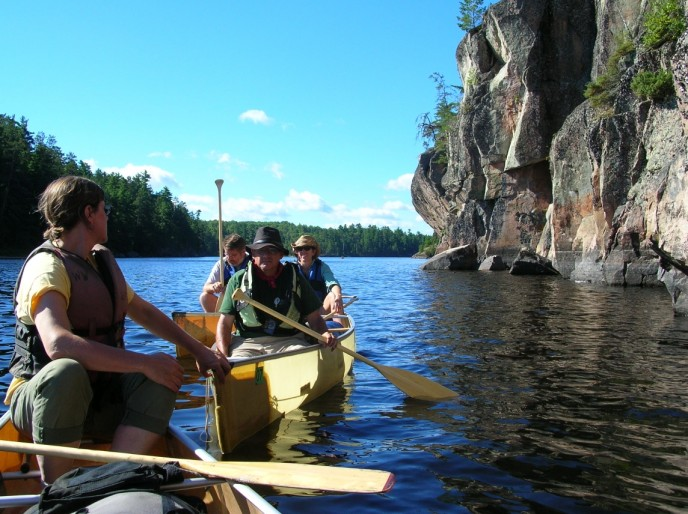Paddling near pictographs